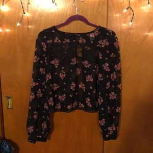 Floral and lace blouse